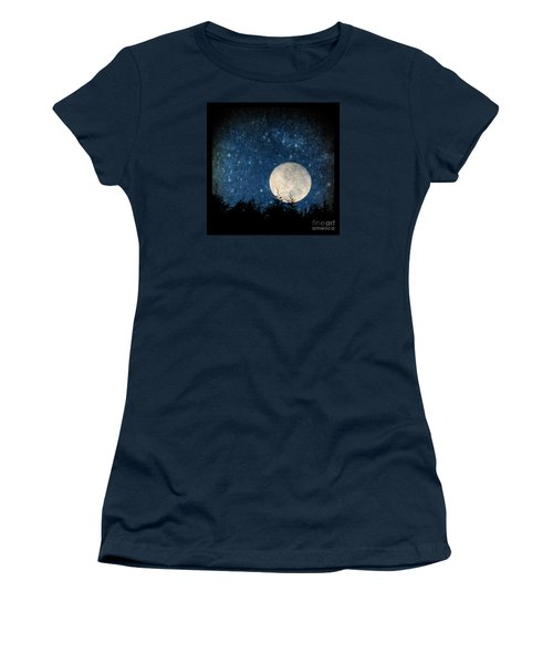 Moon, Tree And Stars Women's T-Shirt