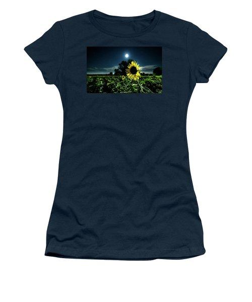 Women's T-Shirt (Junior Cut) featuring the photograph Moonlighting Sunflower by Everet Regal