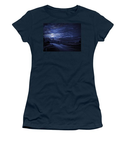 Moonrise Over Pymatuning Lake Women's T-Shirt (Athletic Fit)