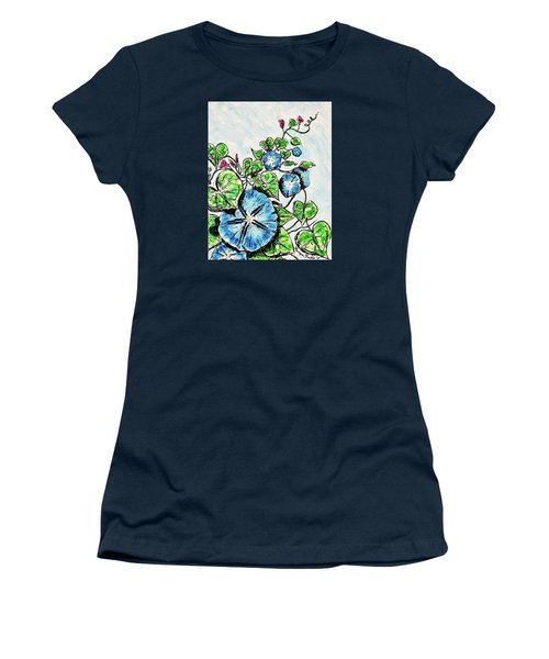 Women's T-Shirt featuring the painting Morning Glory by Monique Faella