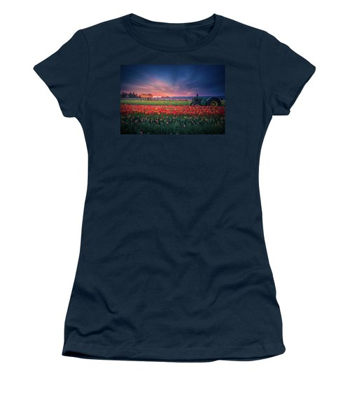 Women's T-Shirt (Athletic Fit) featuring the photograph Mt. Hood And Tulip Field At Dawn by William Lee