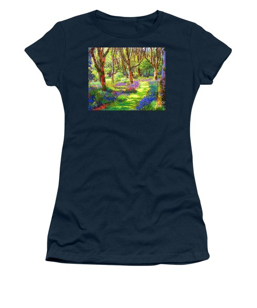 Women's T-Shirt (Junior Cut) featuring the painting Music Of Light, Bluebell Woods by Jane Small