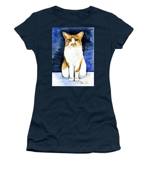Mustached Bicolor Beauty - Cat Portrait Women's T-Shirt