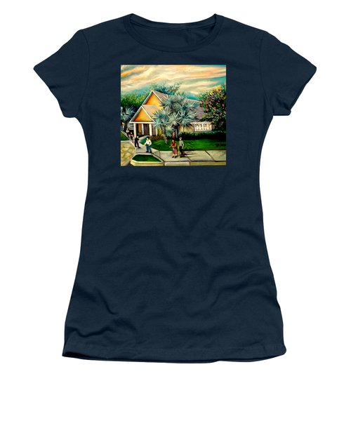 Women's T-Shirt (Junior Cut) featuring the painting My Church by Yolanda Rodriguez
