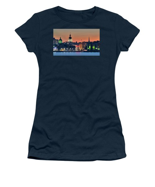 My Home Town At Night... Women's T-Shirt (Athletic Fit)