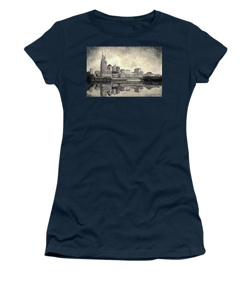 Women's T-Shirt (Junior Cut) featuring the mixed media Nashville Skyline II by Janet King