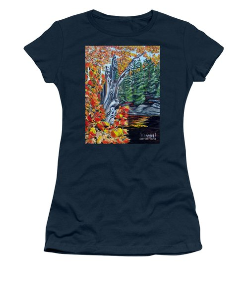 Women's T-Shirt (Junior Cut) featuring the painting Natures Faces by Marilyn  McNish