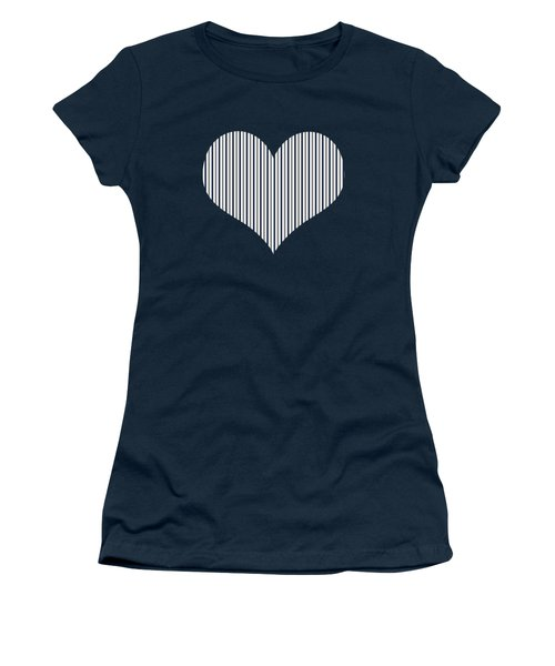 Navy White And Grey Vertical Stripes Women's T-Shirt (Athletic Fit)