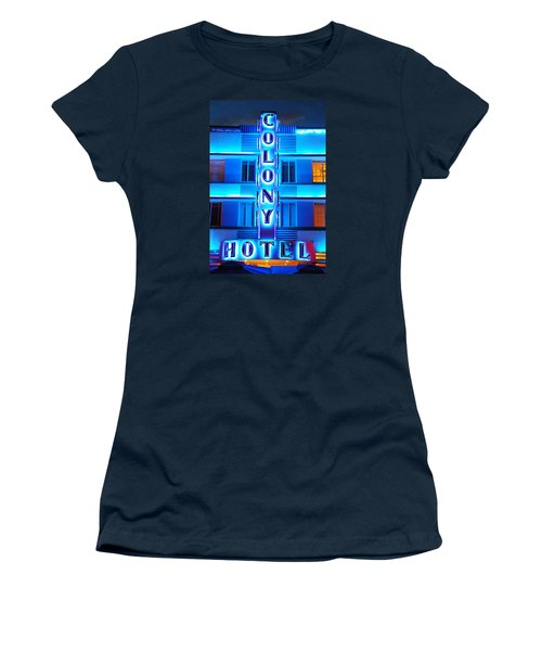 Neon Lights Of The Colony Hotel, Miami Beach Women's T-Shirt (Junior Cut)