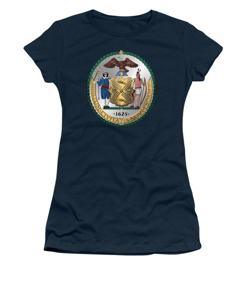 New York City Coat Of Arms - City Of New York Seal Over Blue Velvet Women's T-Shirt (Junior Cut) by Serge Averbukh