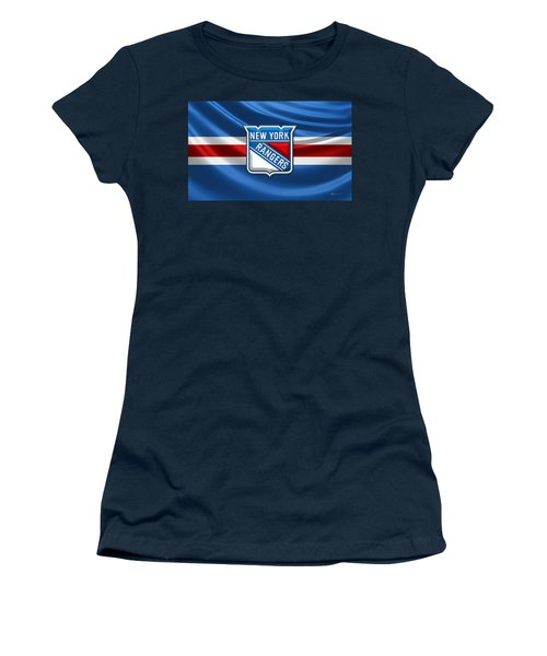 New York Rangers - 3d Badge Over Flag Women's T-Shirt (Athletic Fit)