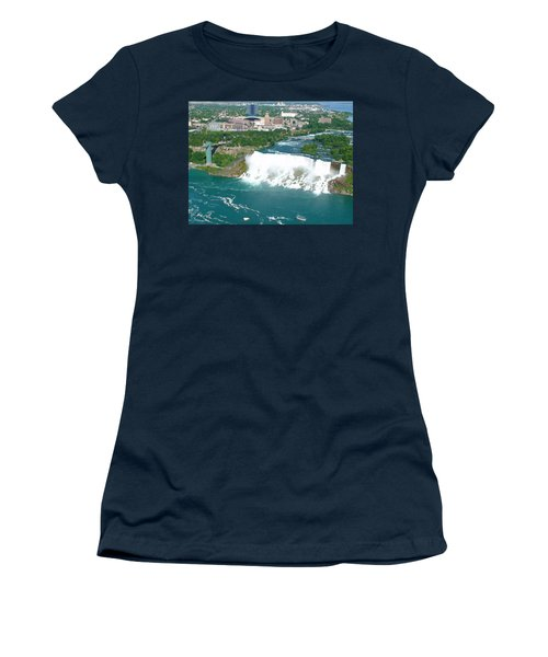 Women's T-Shirt (Athletic Fit) featuring the photograph Niagara American And Bridal Veil Falls  by Charles Kraus
