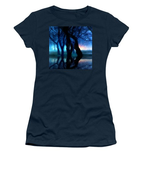 Night Fog In A City Park Women's T-Shirt (Athletic Fit)