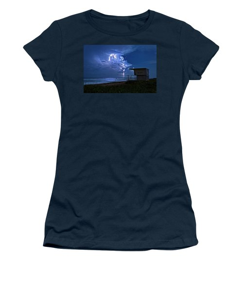 Night Lightning Under Full Moon Over Hobe Sound Beach, Florida Women's T-Shirt