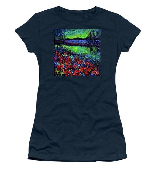 Northern Lights Embracing Poppies Women's T-Shirt