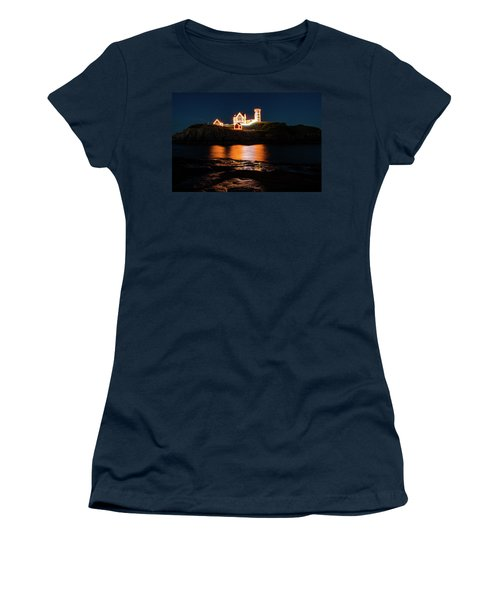 Women's T-Shirt (Athletic Fit) featuring the photograph nubble Lighthouse, York Maine by Jeff Folger