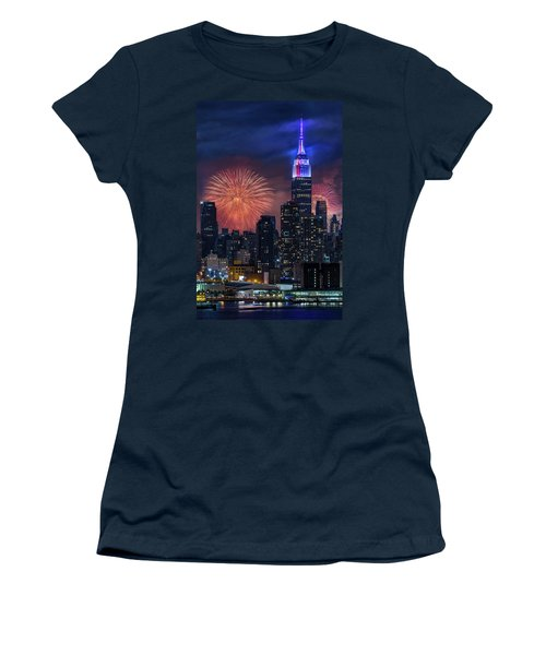 Women's T-Shirt (Athletic Fit) featuring the photograph Nyc Fourth Of July Fireworks  by Susan Candelario