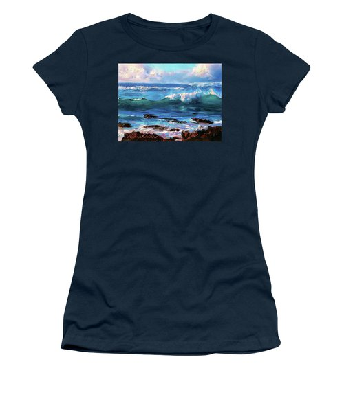 Coastal Ocean Sunset At Turtle Bay, Oahu Hawaii Beach Seascape Women's T-Shirt