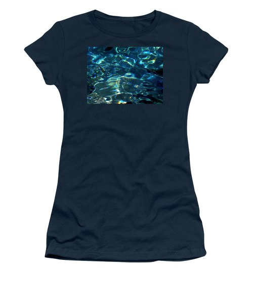 Women's T-Shirt (Junior Cut) featuring the photograph Ocean Water Reflections Island Santorini Greece by Colette V Hera  Guggenheim