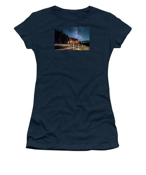 Old Mining Camp Under Milky Way Women's T-Shirt (Junior Cut) by Michael J Bauer