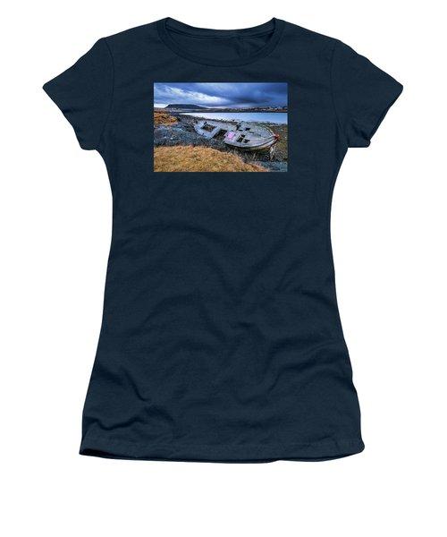 Old Wooden Ship On Beach Women's T-Shirt (Junior Cut) by Joe Belanger