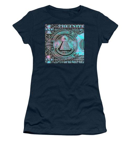 Women's T-Shirt (Junior Cut) featuring the digital art One-dollar-bill - $1 - Reverse Side by Jean luc Comperat