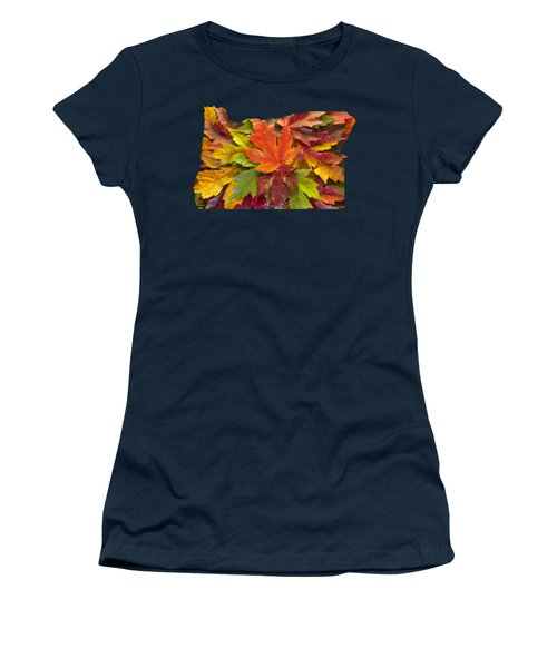 Oregon Maple Leaves Mixed Fall Colors Background Women's T-Shirt (Athletic Fit)