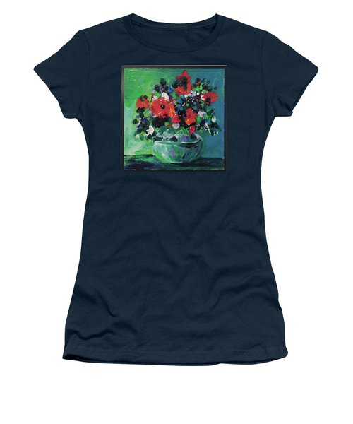 Women's T-Shirt (Junior Cut) featuring the painting Original Bouquetaday Floral Painting By Elaine Elliott, Blues And Greens, 12x12, 59.00 Incl. Shippin by Elaine Elliott