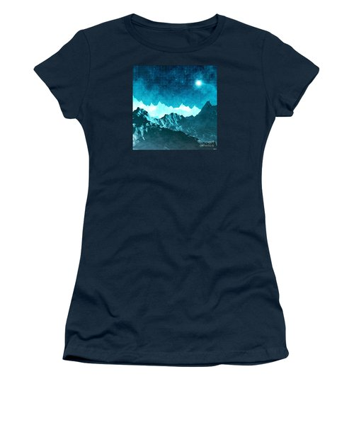 Women's T-Shirt (Junior Cut) featuring the digital art Outer Space Mountains by Phil Perkins
