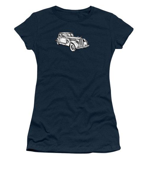 Packard Luxury Antique Car Illustration Women's T-Shirt (Junior Cut) by Keith Webber Jr