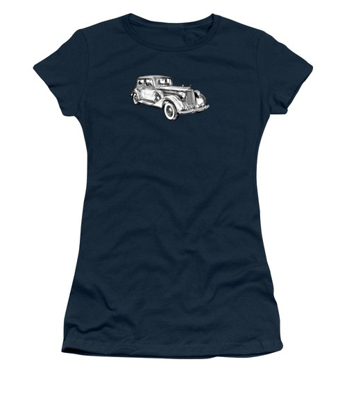 Packard Luxury Antique Car Illustration Women's T-Shirt (Athletic Fit)