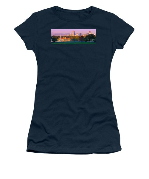 Panorama Of Denver Skyline From Museum Of Nature And Science - City Park Denver Colorado Women's T-Shirt
