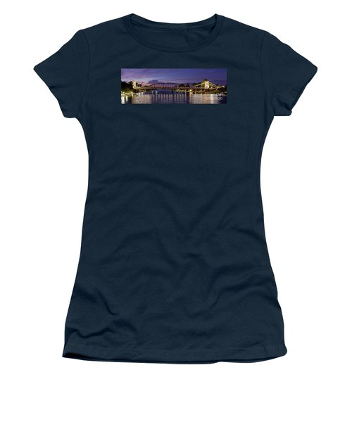 Panorama Of Waco Suspension Bridge Over The Brazos River At Twilight - Waco Central Texas Women's T-Shirt