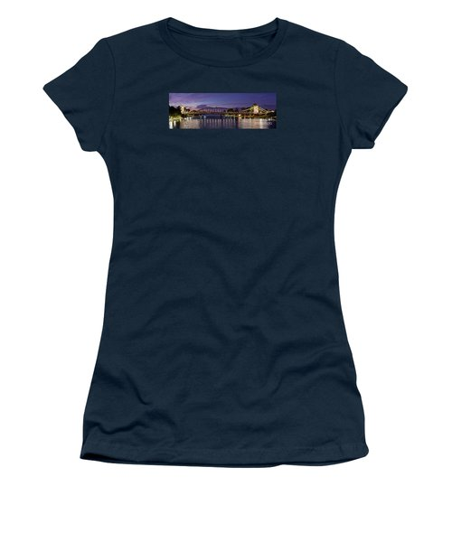 Panorama Of Waco Suspension Bridge Over The Brazos River At Twilight - Waco Central Texas Women's T-Shirt (Athletic Fit)