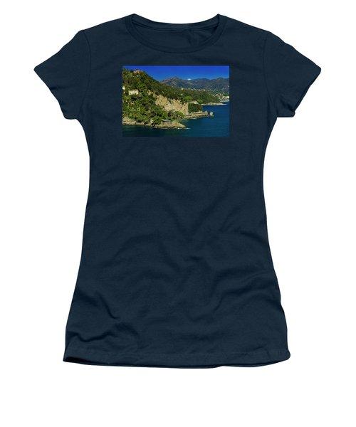 Paraggi Bay Castle And Liguria Mountains Portofino Park  Women's T-Shirt