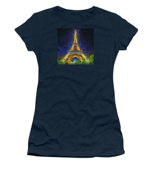 Women's T-Shirt (Junior Cut) featuring the painting Paris By Night by Dragica  Micki Fortuna