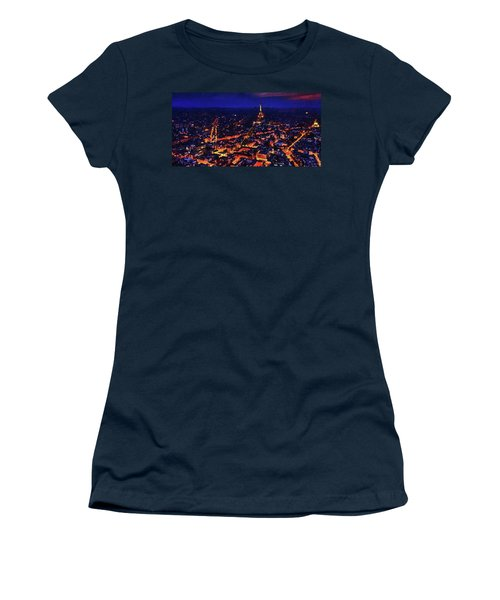 Women's T-Shirt (Athletic Fit) featuring the digital art Paris City View by PixBreak Art