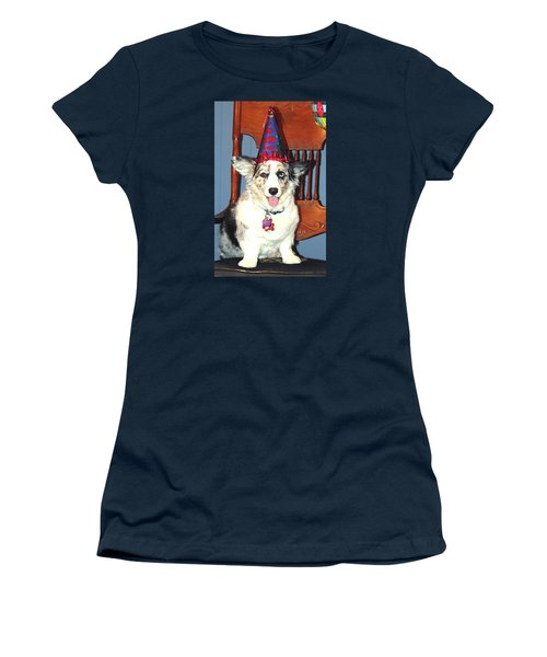 Party Time Dog Women's T-Shirt (Junior Cut) by Cathy Donohoue