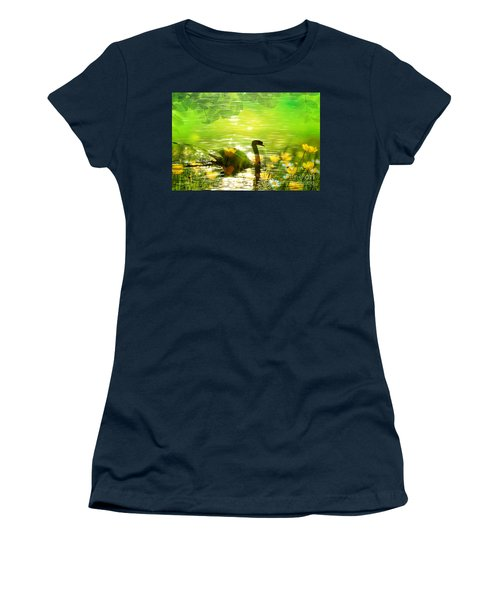 Peaceful Swan In Lake With Flowers Women's T-Shirt (Athletic Fit)