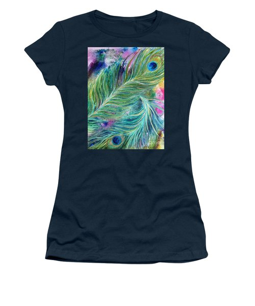 Peacock Feathers Bright Women's T-Shirt (Junior Cut) by Denise Hoag