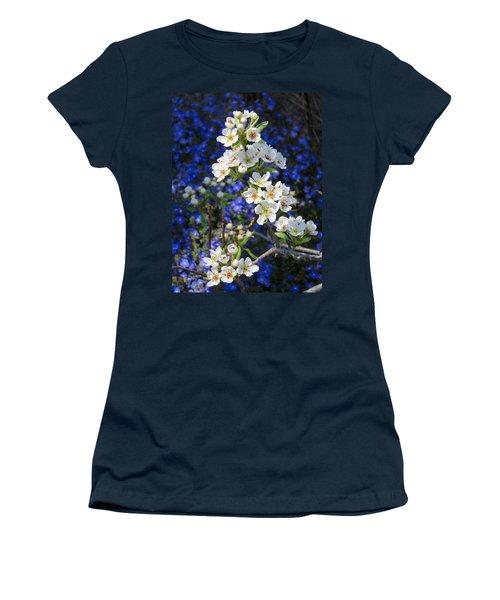 Pear Blossoms And Georgia Blue 2 Women's T-Shirt (Junior Cut) by Brooks Garten Hauschild