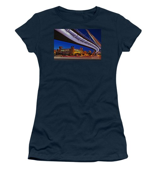Petco Park And The Harbor Drive Pedestrian Bridge In Downtown San Diego  Women's T-Shirt