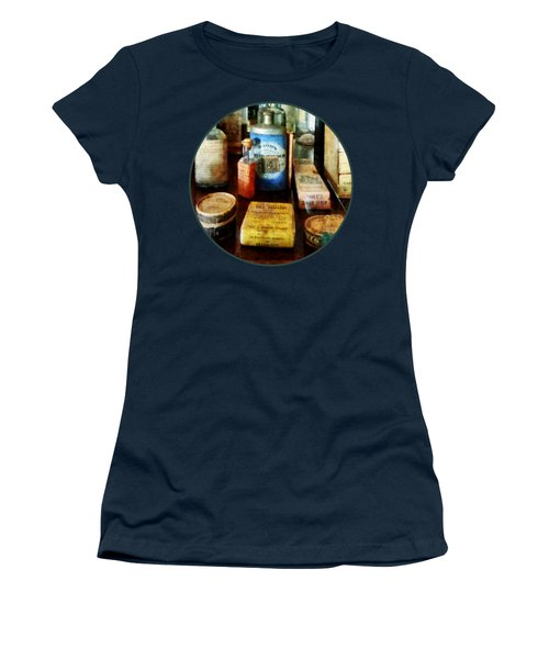 Women's T-Shirt (Junior Cut) featuring the photograph Pharmacy - Cough Remedies And Tooth Powder by Susan Savad