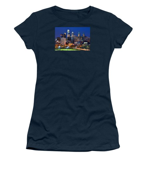 Philadelphia Skyline At Night Women's T-Shirt (Athletic Fit)
