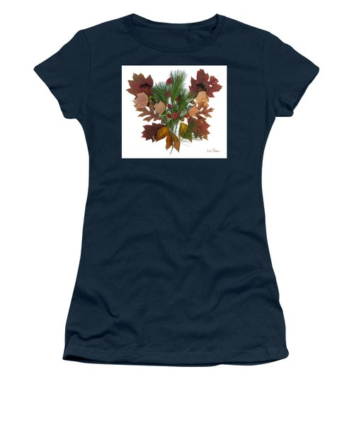 Pine And Leaf Bouquet Women's T-Shirt (Junior Cut) by Lise Winne