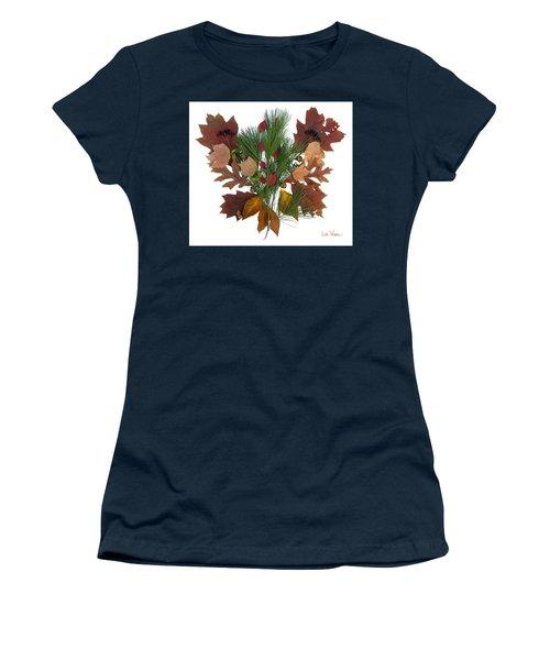 Women's T-Shirt (Junior Cut) featuring the digital art Pine And Leaf Bouquet by Lise Winne