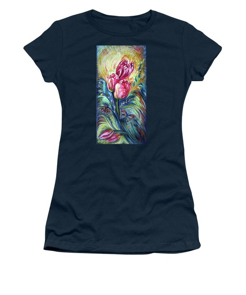 Pink Tulips And Butterflies Women's T-Shirt (Junior Cut) by Harsh Malik