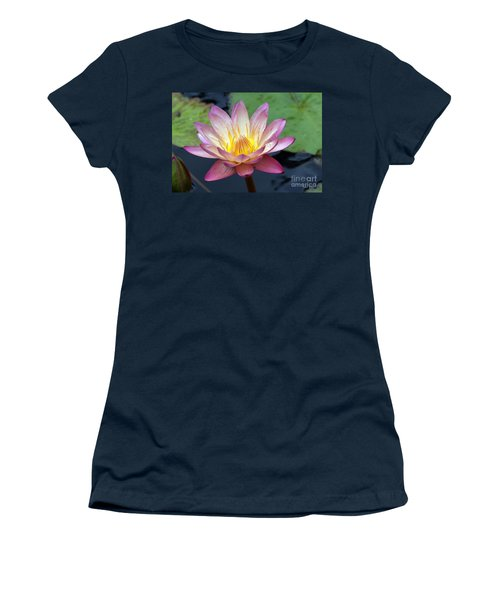 Pink Water Lily Women's T-Shirt (Junior Cut) by Teresa Zieba