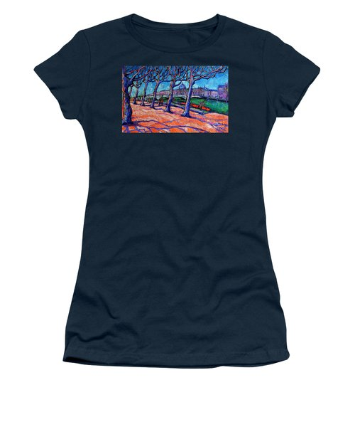 Plane Trees Along The Rhone River - Spring In Lyon By Mona Edulesco Women's T-Shirt