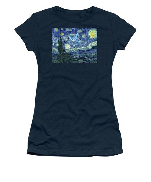 Women's T-Shirt (Junior Cut) featuring the digital art Pokevangogh Starry Night by Greg Sharpe